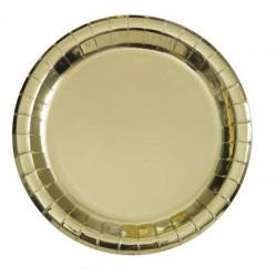 Piatti di carta 21 cm Oro 8 pz